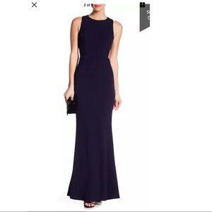 Minuet Solid Side Cutout Navy Blue Maxi Gown Dress